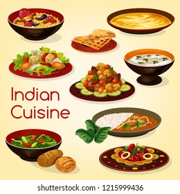 Indian cuisine dishes of rice with lamb curry, chapati bread and meat gravy. Chicken with spinach, rice pilaf or pulao biryani with nuts, almond soup and vegetable mushroom stew, vector food