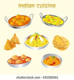 Indian cuisine dishes set