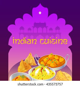 Indian cuisine food dishes colorful poster