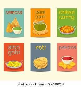 Indian cuisine food dishes colorful posters. Indian dishes banners, cards, posters set ,vintage colors