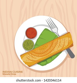 Indian cuisine - Masala Dosa with sambar and chatni on white ceramic plate