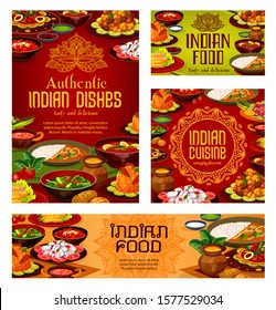 Indian cuisine restaurant menu cover, traditional India food dishes banners and posters. Vector Indian authentic gourmet breakfast and dinner meals of with vegetables and curry rice, meat and fish