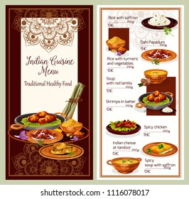 Indian cuisine restaurant menu template with healthy lunch dish list. Pita bread, served with vegetable rice, chicken curry and fried shrimp, fried feta cheese, lentil and saffron soup
