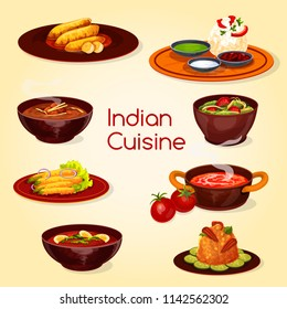 Indian cuisine restaurant thali dish and desserts. Green chutney with rice, curry soup and spinach chicken stew, fried chili pepper and banana, tomato cream soup, pork rice and turkey curry