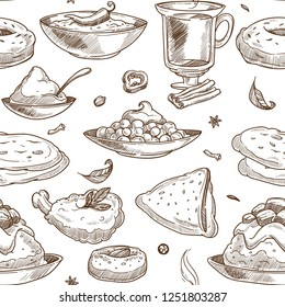 Indian cuisine sketch pattern background. Vector seamless design of traditional India food chicken tandoori grill, curry rice or pilaf vegetables and samosa or masala soup and tea with saffron dessert