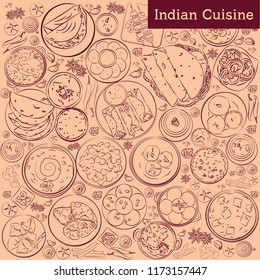 indian cuisine vector background. food top view illustration or  sketch banner