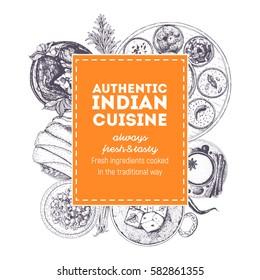 Indian cuisine vector illustration. Indian food frame concept. Menu label hand drawn.
