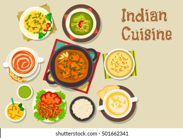 Indian cuisine vegetarian pilau rice icon served with turkey curry, prawn in tomato sauce, chicken spinach stew, tomato soup, pea cream soup, rice dessert with nuts, mango yogurt smoothie