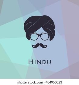 Indian culture concept represented men head icon. Vector illustration