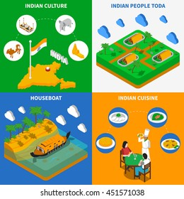 Indian culture cuisine houseboat and toda tribe settlement 4 isometric icons square poster abstract isolated vector illustration