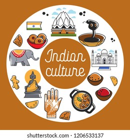 Indian culture promo poster with national symbols set. Religious attributes, architectural constructions