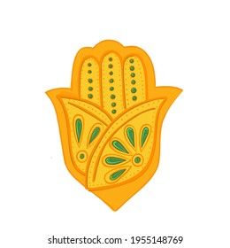 Indian culture symbol Hamsa hand religion and belief vector amulet .religion or mantra evil eye protection gold palm with ornament. travel to India culture and spirituality mascot or talisman charm.