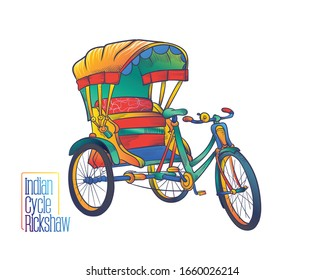 Indian cycle rickshaw_ colourful vector illustration in white background