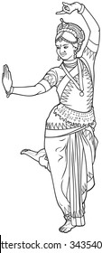 Indian dance vector illustration variant 2, classical Indian dance, Odissi dancer series