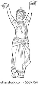 Indian dance vector illustration variant 3, classical Indian dance Odissi dancer series