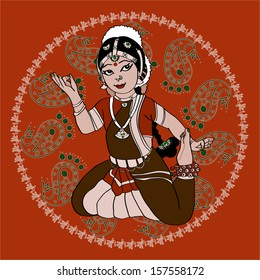 Indian dancer girl in circle ornament for your design