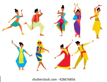Indian dancer vector illustration cartoon style. Indian woman. Traditional Indian dance. Asian culture. National Indian costume.