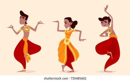 Indian dancers in the posture of Indian dance. Vector cartoon illustration.