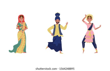 Indian Dancers in Traditional Costumes Vector Illustrations