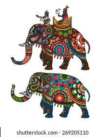 Indian decorated elephant with rider Maharaja. Vector illustration