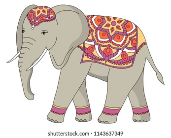 Indian decorated elephant. Vector illustration.