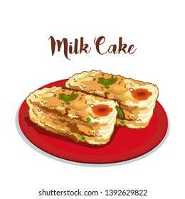 indian dessert or sweets milk cake or kalakand vector illustration