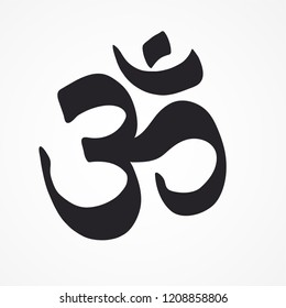 Indian Dharmic religion OM sacred sound symbol. Vector illustration.