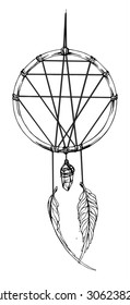Indian dream catcher. American indians. Ethnic sketch style illustration