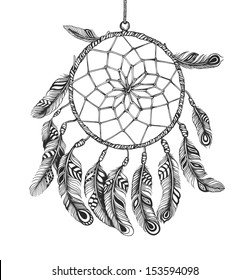 Indian Dream catcher in a sketch style. Vector illustration isolated on white background.