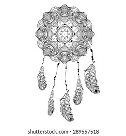 Indian Dream catcher in a sketch style. Vector illustration isolated on white background. Dream Catcher, Protection, American Indians, Silhouette spectacle of dreams. vector