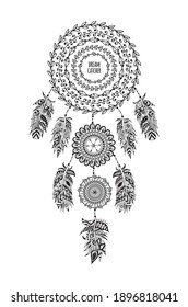 Indian dream catcher from string and bird feathers in black line vector illustration isolated on white background. Vintage ethnic dreamcatcher ornate element.