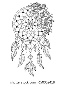 Indian dream catcher. Zentangle stylized cartoon isolated on white background. Hand drawn sketch illustration for adult coloring book, T-shirt emblem, logo or tattoo, zentangle design elements.