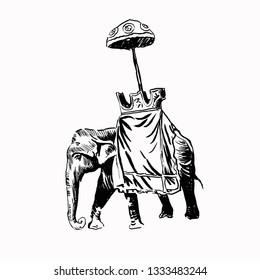 Indian elepant black and white illustration.
