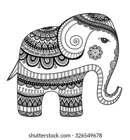 Indian elephant. Hand drawn doodle bishop with abstract tribal ornament. Vector ethnic elephant. Coloring page for children and adult.