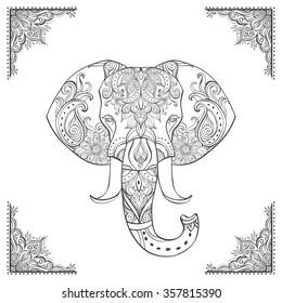 Indian elephant head. Ornate elephant. Hand drawn vector illustration