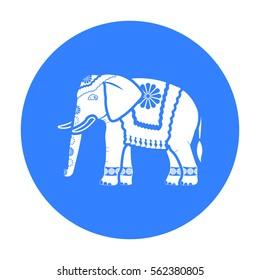 Indian elephant icon in black style isolated on white background. India symbol stock vector illustration.