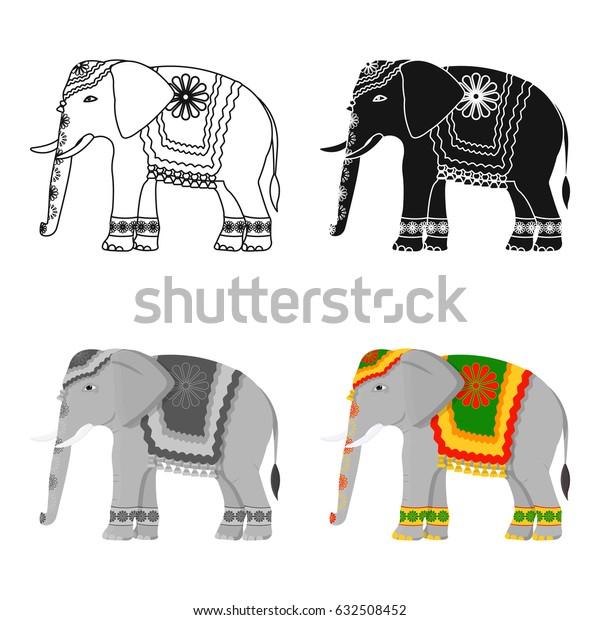 Indian elephant icon in cartoon style isolated on white background. India symbol stock vector illustration.