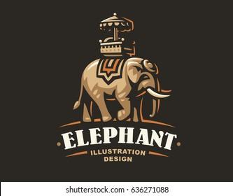 Indian elephant logo - vector illustration, emblem design on dark background.