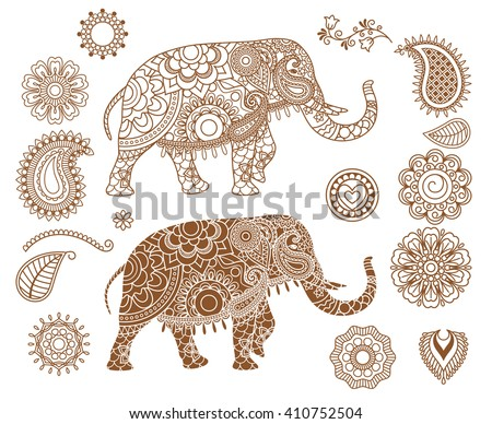 Indian Elephant Mehendi Patterns Hand Drawn Stock Vector Royalty