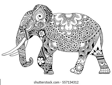 Indian elephant in style mihendi on a white background