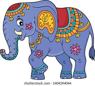 Indian elephant topic image 1 - eps10 vector illustration.