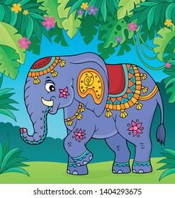 Indian elephant topic image 2 - eps10 vector illustration.