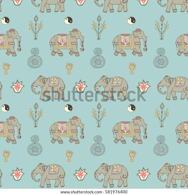 indian elephants pattern