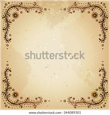 Indian Ethnic Henna Tattoo Framed Background Stock Vector Royalty