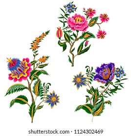 Indian ethnic ornament elements. Folk flowers and leaves for print or embroidery.
