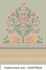 Indian ethnic pattern with stylized florwers and bird. Colored vector illustration.  Isolated on white background. Good for the cover of a notebook, tablet, phone