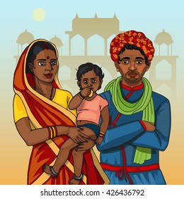 Indian family  father and mother holding child