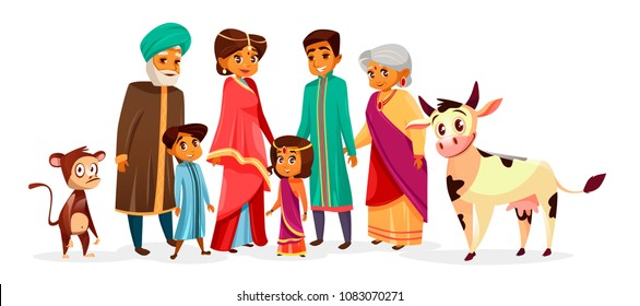 Indian family vector illustration of people in Hindu national clothes. Cartoon Indian characters of mother woman in saree and father man with children boy and girl or grandparents and pets
