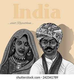 Indian family vintage poster