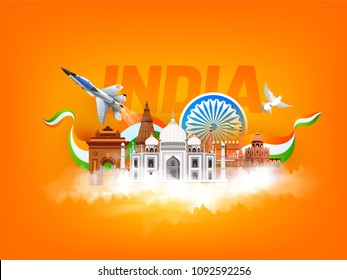 Indian famous monuments, India Gate, Taj Mahal, Red Fort, Fighter aircraft and peace symbol flying dove on saffron colour background with text India.